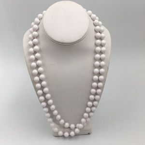 Vintage Costume Long White Bead Necklace